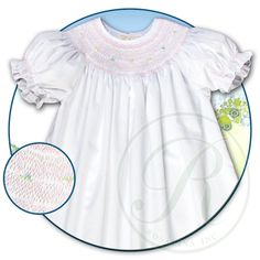 White with Pink English Smocked Bishop 15SP 5477A