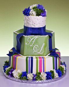 Bright n masculin Monogram Cake, Monogram Wedding, Beautiful Cakes, Amazing Cakes, Food Decoration, Decorations, Cupcake Cakes, Cupcakes, Cake Gallery