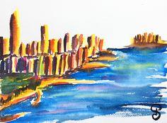 Hudson River 23x31 cm - Série New York - 2017- new york city, aquarelle, watercolor
