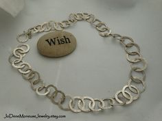 Silver Dreams-hand forged sterling silver big chunky chain necklace $235. by JoDeneMoneuseJewelry