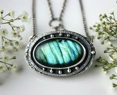 Twinkling in the Night Forest - Labradorite Sterling Silver Necklace
