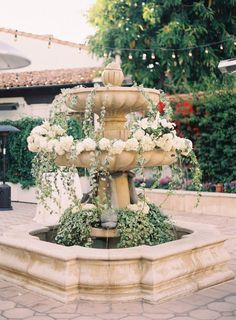 flowers overflowing from a pretty fountain Romantic Wedding Decor, Timeless Wedding, Floral Wedding, Wedding Decorations, Wedding Dress, Blue Grey Weddings, Rehearsal Dinners, Garden Styles, Event Design