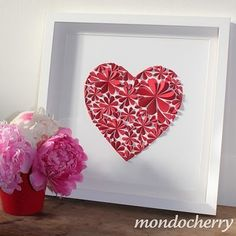 Flower wall, Paper hearts and Wall art