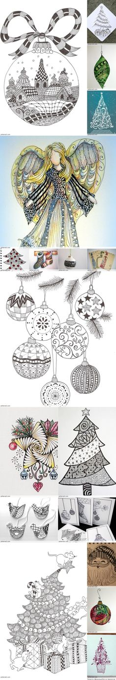Christmas Zentangle Patterns Absolutely Amazing Site Such a talent