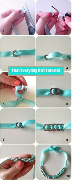 Washer-Necklace-Tutorial- Definitely going to get some copper washers and try th. - Washer-Necklace-Tutorial- Definitely going to get some copper washers and try this . Washer Necklace Tutorial, Bracelet Tutorial, Diy Necklace, Washer Bracelet, Ribbon Necklace, Ribbon Bracelets, Ribbon Jewelry, Necklace Holder, Necklaces