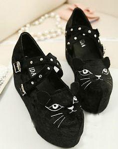 Women Cute Cat Head High Platform Wedge Creeper Shoes Pantshoes 2 Colors EFOR