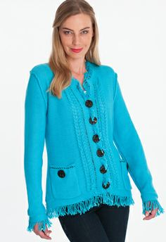 island cardigan - This chic button front cardigan has been crafted in our signature cotton knit. Finished with a rich fringed trim for added texture and interest. Single knit.