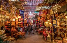 Gold finished metal trays, lamps, and serveware are all over markets in Morrocco and India. Make sure to bring home souvenirs for your home.