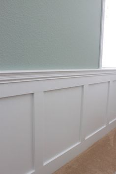Ice blue paint with either wainscoting or beadboard for LR-DR space