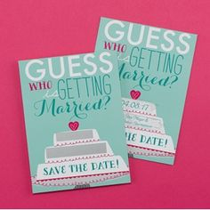 Have your guests guess who's getting married with this colorful theme-inspired card. #posh invitations www.poshweddinginvitations.com