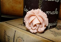 Pale Pink OR ivory Rose Necklace