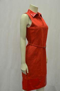 MAXMARA LEONE Sz 8 Red Belted Shift Dress Glossy Vinyl Collar & Hem