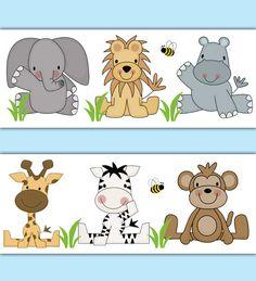 SAFARI ANIMAL WALLPAPER Border Decal Jungle Nursery Wall Stickers Baby Boy Room Elephant Monkey Zebra Giraffe Hippo Lion Kids Art Decor