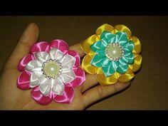 DIY    Cara Membuat Bros Kanzashi Flower 12 for beginner - Lista Tsurayya Tutorial - YouTube