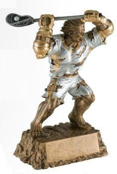 This ripped trophy is sure to be a hit with your tough team! The Monster Lacrosse Trophy features a male player with a Lacrosse stick and nothing is going to stop him! Made of solid resin, this bronze