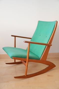 want- a special find…  a 1958 Georg Jensen Danish teak rocker on boomerang legs…  in superb vintage condition.