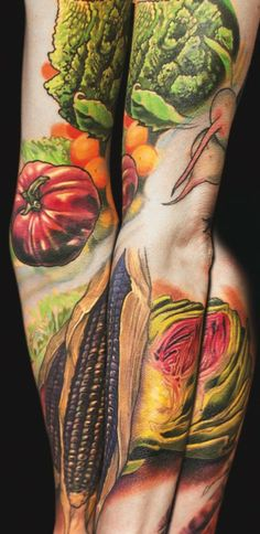 Veggie sleeve by Kurt Fagerland #InkedMagazine #food #veggie #vegetable #sleeve #tattoos #inked #tattoo #corn #tomato #raddish