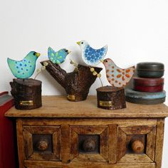 colourful enamelled metal  bird sculptures by Fiona Cameron