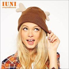 New Winter Cap 2014 Warm fur Knitted Cute little antlers edge Warm earmuffs wool knitted cap