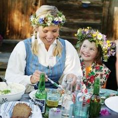 This picture sums up my childhood with my grandmother.  We used to make these floral wreaths for St. Johns Day every year.  Love the Swedish and Latvian traditions.