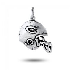 Football Helmet Charm in Sterling Silver (17 x 21mm)