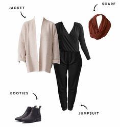 7 Ways to Style a Jumpsuit - Minimalist Fashion | Encircled Chunky Black Shoes, Black Booties, Minimalist Wardrobe, Minimalist Fashion, Wardrobe Staples, Capsule Wardrobe, Edgy Look, Work Looks, Light Jacket
