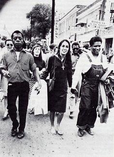 James Baldwin, Joan Baez, James Forman marching in Montgomery, Alabama 1965.