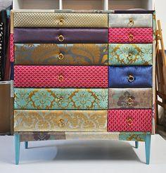 patchwork dresser- love this decor design Funky Furniture, Upcycled Furniture, Unique Furniture, Furniture Making, Furniture Makeover, Painted Furniture, Home Furniture, Refinished Furniture, Decoupage