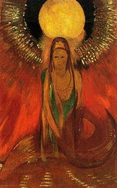 The Flame (Goddess of Fire), 1896 by Odilon Redon. Symbolism. symbolic painting. Private Collection