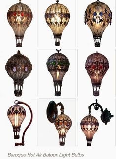 žárovka Whimsically Baroque Lamps - The Hot Air Balloon Light Bulbs Look Straight Out of a Victorian Home Light Bulb Art, Light Bulb Crafts, Painted Light Bulbs, Balloon Lights, Hot Air Balloon, Flying Balloon, Steampunk Accessoires, Steampunk Diy, Steampunk Coffee