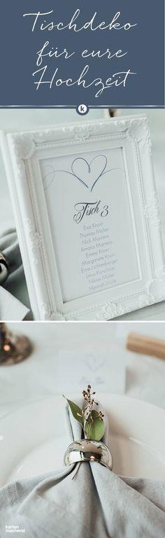 Feine Details machen den Hochzeitstisch zu etwas ganz Besonderen. Die kreativen Tischkarten sind dabei elegant in Bilderrahmen platziert und Serviettenringe werden mit zusätzlichem Grün aufgehübscht.