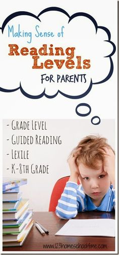 Making sense of Reading Levels for Parents!! Super helpful information on Book Level, Guided Reading, and Lexile including the range where kids are at each grade level! #readingforkids #booksforbeginnerreaders #homeschool #reading