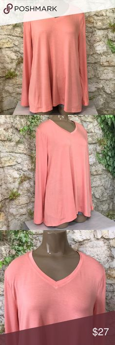 H by Halston super soft stretchy long tee M H by Halston super soft stretchy long sleeve  tee quality material slight hi-lo hem size M EUC  Smoke free and pet free home and packaged with care! H by Halston Tops Tees - Long Sleeve