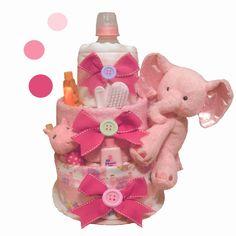 Cute AS A Button Pink Elephant Diaper Cake (#TWB74)