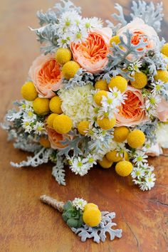 garden roses, dusty miller, monte casino, craspedia - love the dusty miller part of this bouquet, it reminds me of coral :)