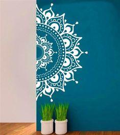 Mandala Wall Decal Aufkleber halbe MandalaYoga Om Namaste Yoga Dekor Wandtattoo Lotus Interior Home Decor Meditation Mandala Wand Kunst Wand - Wandkunst Mandala Design, Mandala Art, Lotus Mandala, Mandala On Wall, Easy Mandala, Mandala Meditation, Wall Art Designs, Paint Designs, Wall Design