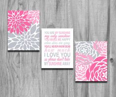 Hey, I found this really awesome Etsy listing at http://www.etsy.com/listing/161114637/you-are-my-sunshine-art-pink-gray-set