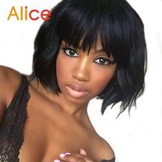 Peruklar Wigs ALICE Human Hair Bob Wigs Short Human Hair Wigs Lace Front Wig With Bangs Full Lace Human Hair Wigs For Black Women ** AliExpress web sitesinde ayrintili aciklamalar icin ZIYARET dugmesine tiklayin.