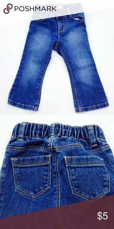 Old Navy Jeans size 18-24 Months Old Navy Jeans size 18-24 Months. Great jeans with adjustable waist with elastic to adjust by moving buttons to a different button hole size. Five pocket jeans, boot cut, elastic waist in back and fly zips with snap closure. Does not have snaps at inner legs. Excellent condition. Smoke free & dog friendly home. Old Navy Dresses