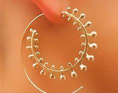 Latón bronce espiral pendientes gitana pendientes