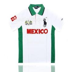 Polo Ralph Lauren Men's Custom Fit Big Pony Mexico PRL Cup Short Sleeve Polo Shirt - White