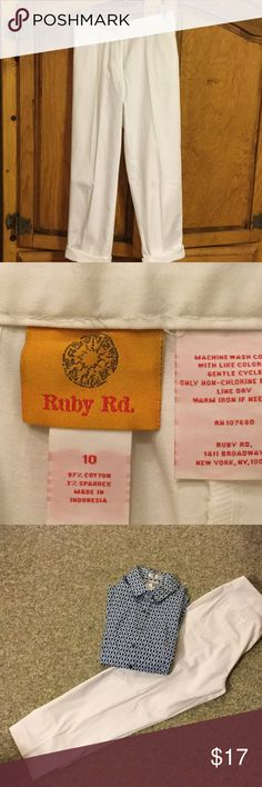 Ruby Rd White Slacks- NWOT Ruby Rd White Pants/or roll for capris. Never been worn. Very nice. Silk pockets still stitched. Comfy and cute 🌻 Ruby Rd Pants Trousers