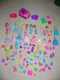 POLLY POCKET big LOT OVER 100 Pieces Dolls Clothes Hats Shoes Car More rubber #Mattel