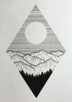 Little mountain drawing. Cool Art Drawings, Pencil Art Drawings, Doodle Drawings, Art Drawings Sketches, Easy Drawings, Drawing Ideas, Drawing Art, Simple Tumblr Drawings, Simple Doodles Drawings