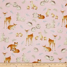 Kaufman Fawns & Friends Animals Pink from @fabricdotcom  From Robert Kaufman, this adorable and whimsical cotton print collection features muted, pastel shades and an array of adorable baby woodland creatures. It would look just right in sweet little baby clothes, or for a delightful nursery for girls or boys. Colors include pink, burnt orange, tan, green, and blue.