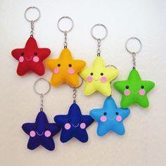 Items similar to Wool felt star keychain on Etsy Tiny star keychain rainbow stars wool by UnBonDiaHandmade Felt Diy, Felt Crafts, Diy And Crafts, Crafts For Kids, Arts And Crafts, Sewing Crafts, Sewing Projects, Craft Projects, Felt Keychain