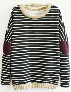 Black Long Sleeve Striped Elbow Patch Sweatshirt - Sheinside.com Mobile Site