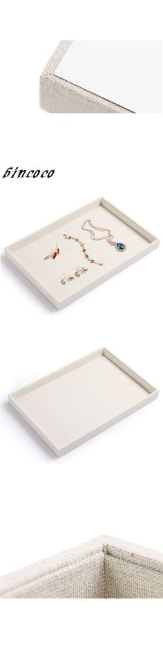 LAN LIN jewelry display tray White Linen Jewelry Tray Ring Case Necklace Plate Pendants Display Jewelry Storage Box Holder Tray