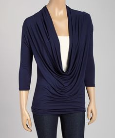 Look at this Fame Fashion  Navy Drape Top on #zulily today!