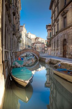 Quiet canal away from the tourists in Venice.  Italy